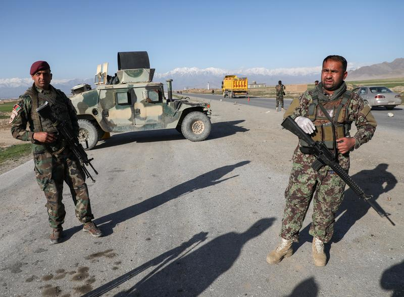 Afghan National Army [ANA} soldiers  near Kabul in 2020 [Reuters]